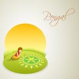Rangoli voor het vieren van Zuiden Indisch festival Pongal vector illustratie