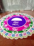 Rangoli  moil limited nagpur. This rangoli was mad my employ of the moil on the festival of foundation day of moil stock images