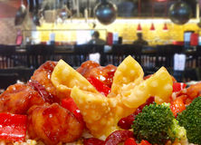 Rangoon and General Tso Chicken in Restaurant Royalty Free Stock Photos