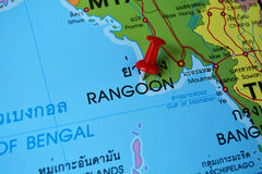 Rangoon map. Macro shot of rangoon map with push pin stock photography