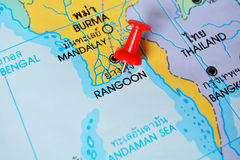 Rangoon map. Macro shot of rangoon map with push pin royalty free stock photography