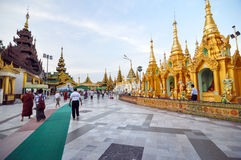 RANGOON, MYANMAR - 11 October 2013 : Shwedagon Pagoda in Rangoon Royalty Free Stock Photos