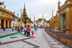 RANGOON, MYANMAR - 11 October 2013 : Shwedagon Pagoda in Rangoon Royalty Free Stock Photo