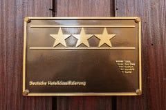 Rangs d'étoile d'hôtel sur la façade allemande d'hôtel de trois étoiles Image libre de droits