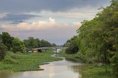 Rangsit-Kanal mit Hyazinthe stockfoto