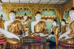 Rangun, Myanmar - 19. Februar 2014: Goldene Buddha-Statue bei Shwedag Stockbild