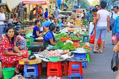 Rangun-Straßenhändler, Myanmar Lizenzfreies Stockfoto