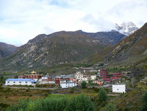 Ranipauwa, Muktinath and view to Thorong La, Nepal Royalty Free Stock Images