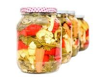 Ranja com as salmouras que contêm a couve-flor, pepino, pimenta vermelha Imagem de Stock