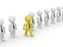 Rank of 3d people with one going out. Second frame of simple animation stock illustration