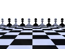 Rank of black and white pawns Royalty Free Stock Photo