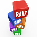 Rank Cubes Stack Favored Position Top 5 Order Search Results. Rank word on cubes or boxes stacked in top five order in search results as favorite positions or Stock Images