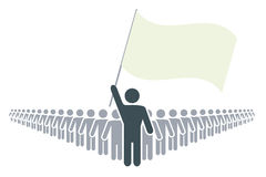 Rank of people with leader and flag Stock Photo