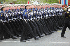 Rank of soldiers of navy march Royalty Free Stock Image