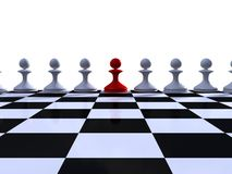 Rank of white pawns. On a chessboard Stock Images
