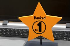 Ranked Number 1 sign on Yellow Star.  Stock Image