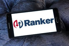 Ranker company logo. Logo of Ranker company on samsung mobile. Ranker is a digital media company located in Los Angeles. The site features polls on entertainment Stock Photography
