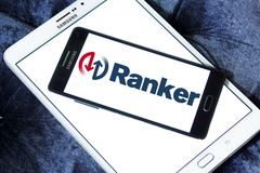 Ranker company logo. Logo of Ranker company on samsung mobile. Ranker is a digital media company located in Los Angeles. The site features polls on entertainment Stock Photos