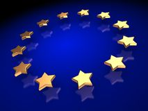 Ranking. Group of golden stars on a blue background Stock Illustration