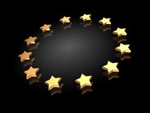 Ranking. Group of golden stars on a black background Royalty Free Illustration