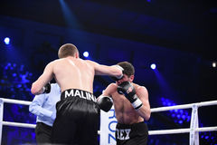 Ranking boxing fight in Palace of sport Stock Photos