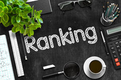 Ranking Concept on Black Chalkboard. 3D Rendering. Ranking Handwritten on Black Chalkboard. 3d Rendering stock image