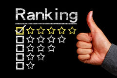 Ranking concept. Is on the blackboard with thumb up hand aside stock image