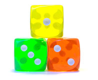 A ranking of dice. Green, yellow, red stock image