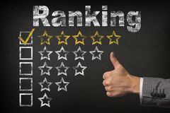Ranking five 5 star rating. thumbs up service golden rating stars on chalkboard.  royalty free stock photography