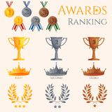 Ranking icons set. Of different size awards crowns and medals isolated vector illustration Stock Image