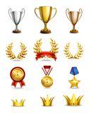 Ranking icons set. Of different size awards and medals isolated vector illustration Royalty Free Stock Images