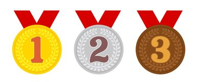 Free Ranking Medal Icon Flat Illustration Set / From 1st Place To 3rd Place Royalty Free Stock Image - 161125796