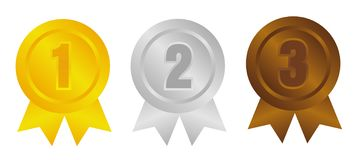 Free Ranking Medal Icon Illustration Set / 3 Colors / From 1st Place To 3rd Place Stock Photo - 161125180