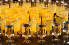 The ranks of glasses with drinks Royalty Free Stock Photo