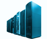 Ranks modern supercomputers in computational data center isolate, blue tone Royalty Free Stock Images