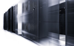 Ranks modern supercomputers in modern computational data center with motion black and white Royalty Free Stock Photography