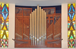 Ranks of oipe organ pipes. Image of pipe organ pipes Stock Photography
