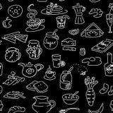 Ranku śniadaniowego doodle bezszwowy wzór na czerni Kredowej deski styl nakreślenie Fotografia Royalty Free