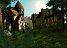 Ranku światła dziennego wschodu słońca wioski Średniowieczna Grodzka scena Zdjęcie Royalty Free