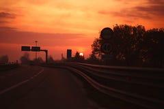 Ranku światło na drodze Zdjęcie Royalty Free