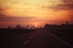 Ranku światło na drodze Zdjęcie Stock