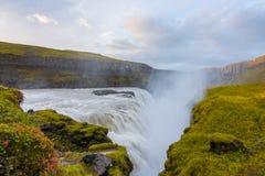 Ranku Gullfoss siklawa, Iceland Zdjęcie Stock