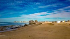 Ranku horyzont Przy Piaskowatą plażą, Puerto Penasco, Meksyk Zdjęcie Stock
