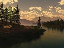 Ranku krajobraz z lasem Fotografia Royalty Free