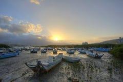 Ranku krajobraz z splatać łodziami na Tamsui rzece w Taipei Tajwan, Fotografia Royalty Free