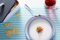 Ranku owsa śniadaniowi płatki z dojną polewką Zdjęcie Royalty Free