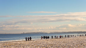 Ranku spacer na morzu bałtyckim, Gdask, Polska Fotografia Royalty Free