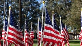 Ranku widok grupy flaga amerykańskie swining przy Świątynnym miastem zdjęcie wideo