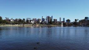 Ranku widok Los Angeles od Zachodniego jeziora zbiory