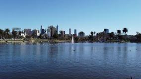 Ranku widok Los Angeles od Zachodniego jeziora zbiory wideo